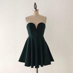 NASTY GAL | Strapless Green Mini Dress